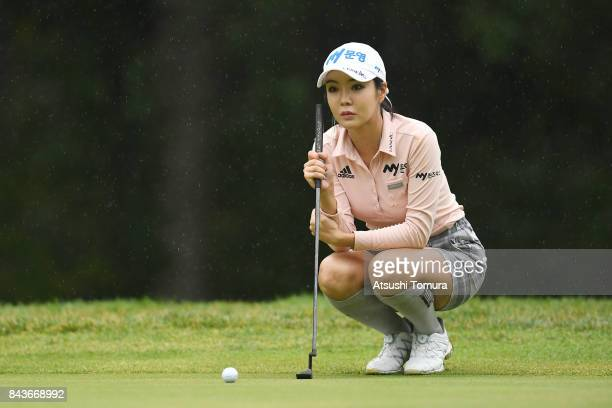 ShinAe Ahn of South Korea lines up her putt on the 16th hole during the first round of the 50th LPGA Championship Konica Minolta Cup 2017 at the Appi...