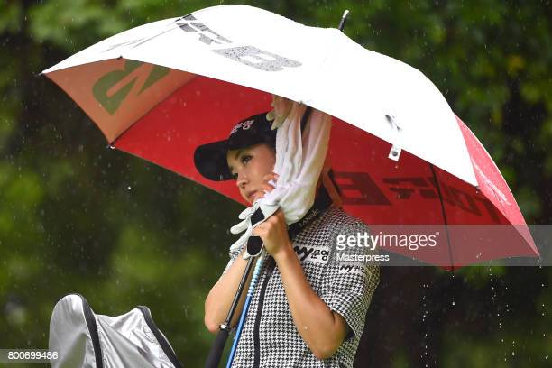 ShinAe Ahn of South Korea looks on during the final round of the Earth Mondamin Cup at the Camellia Hills Country Club on June 25 2017 in Sodegaura...