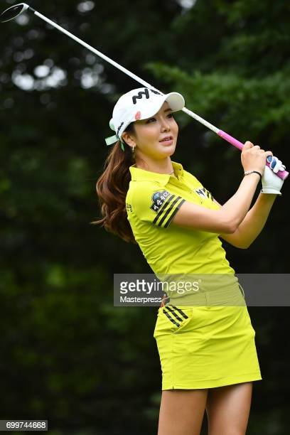 ShinAe Ahn of South Korea looks on during the first round of the Earth Mondamin Cup at the Camellia Hills Country Club on June 22 2017 in Sodegaura...