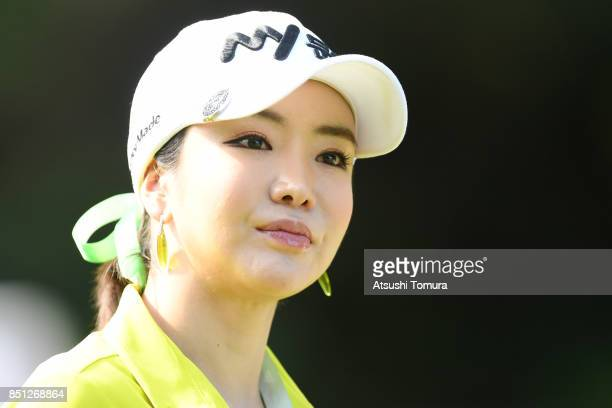 ShinAe Ahn of South Korea looks on during the first round of the Miyagi TV Cup Dunlop Ladies Open 2017 at the Rifu Golf Club on September 22 2017 in...
