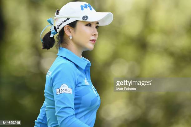 ShinAe Ahn of South Korea looks on during the third round of the 50th LPGA Championship Konica Minolta Cup 2017 at the Appi Kogen Golf Club on...