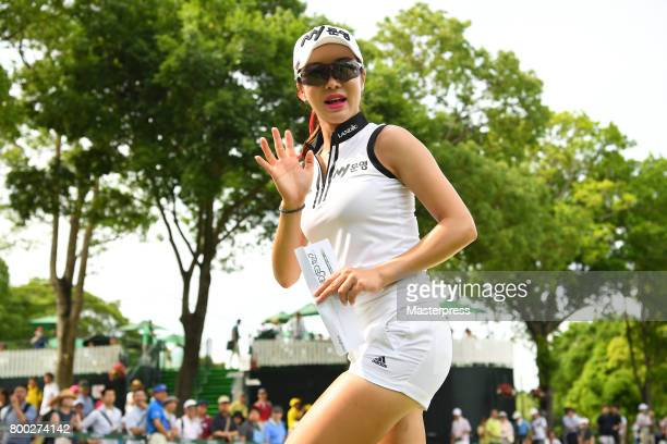 ShinAe Ahn of South Korea poses during the third round of the Earth Mondamin Cup at the Camellia Hills Country Club on June 24 2017 in Sodegaura Japan