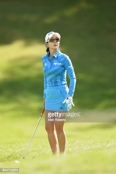 ShinAe Ahn of South Korea prepares to chip onto the 13th green during the third round of the 50th LPGA Championship Konica Minolta Cup 2017 at the...