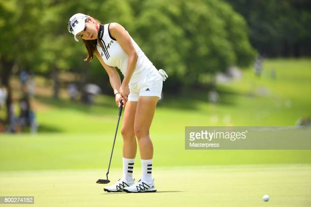 ShinAe Ahn of South Korea putts during the third round of the Earth Mondamin Cup at the Camellia Hills Country Club on June 24 2017 in Sodegaura Japan