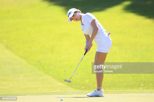 ShinAe Ahn of South Korea putts on the 1st hole during the first round of the KKT Cup Vantelin Ladies Open at the Kumamoto Kuko Country Club on April...