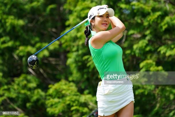 ShinAe Ahn of South Korea smiles during the final round of the Chukyo TV Bridgestone Ladies Open at Chukyo Golf Club Ishino Course on May 20 2018 in...