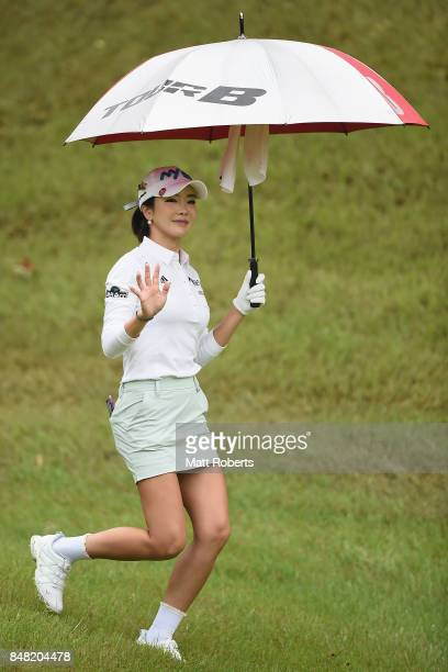 ShinAe Ahn of South Korea smiles during the final round of the Munsingwear Ladies Tokai Classic 2017 at the Shin Minami Aichi Country Club Mihama...
