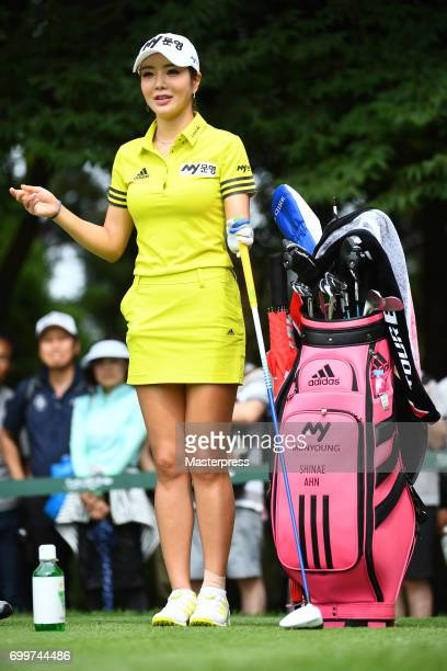 ShinAe Ahn of South Korea smiles during the first round of the Earth Mondamin Cup at the Camellia Hills Country Club on June 22 2017 in Sodegaura...