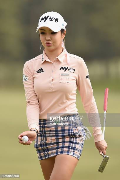 ShinAe Ahn of South Korea walks off the 3rd green during the final round of the World Ladies Championship Salonpas Cup at the Ibaraki Golf Club on...