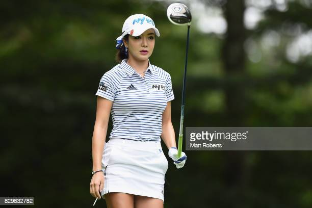 ShinAe Ahn of South Korea watches her tee shot on the 2nd hole during the first round of the NEC Karuizawa 72 Golf Tournament 2017 at the Karuizawa...