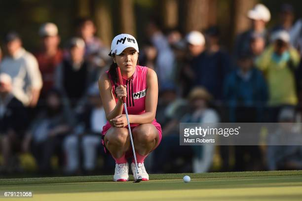 ShinAe Ahn prepares to putt on the 18th green during the second round of the World Ladies Championship Salonpas Cup at the Ibaraki Golf Club on May 5...