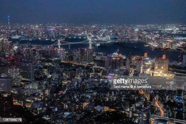shinagawa and tokyo bay in tokyo of japan aerial view from airplane - taro hama ストックフォトと画像