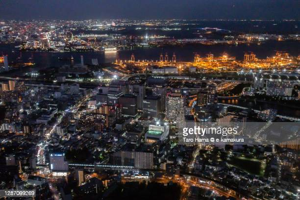 shinagawa seaside in tokyo of japan aerial view from airplane - taro hama ストックフォトと画像