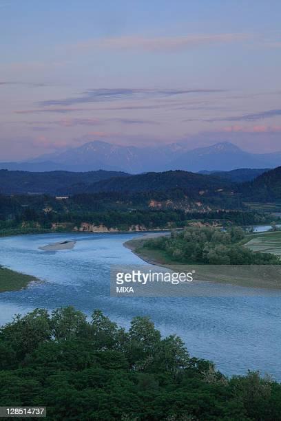 Shinano River and Echigo Three Mountains, Ojiya, Niigata, Japan