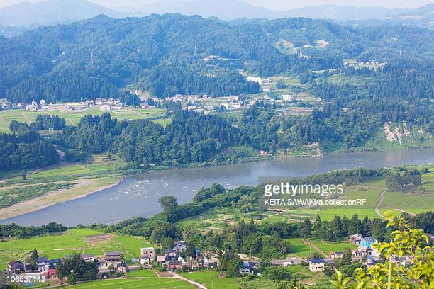 Shinano river, high angle view, Niigata Prefecture, Honshu, Japan
