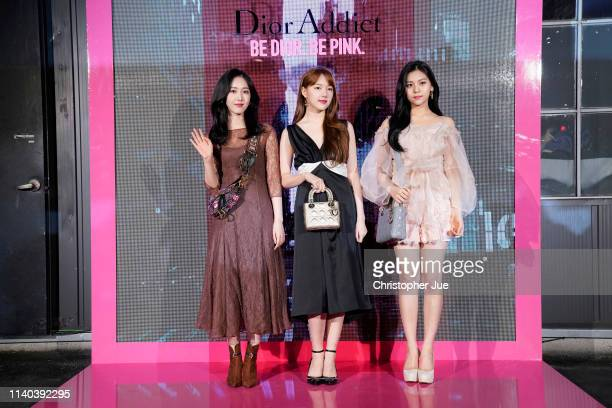 ShinBi Ye Rin and Uhmji of girl band group Girl Friend aka GFrand attend Dior Addict Stellar Shine launch at Layers 57 on April 04 2019 in Seoul...
