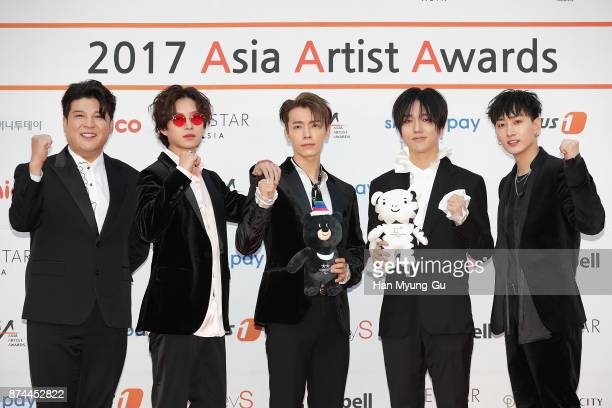Shindong Kim HeeChul Donghae Yesung and Eunhyuk of South Korean boy band Super Junior attend the 2017 Asia Artist Awards on November 15 2017 in Seoul...