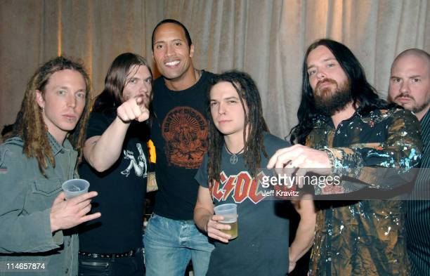 Shinedown and The Rock during 2005 Spike TV Video Game Awards Backstage and Audience at Gibson Amphitheater in Universal City California United States
