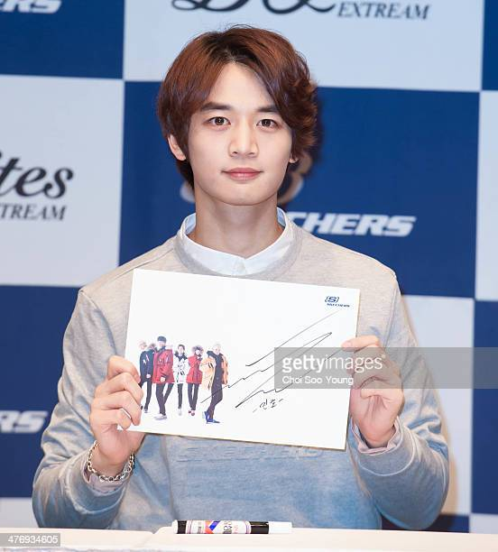 SHINee attend the autograph session for Skechers at Hyundai department store on February 26 2014 in Seoul South Korea