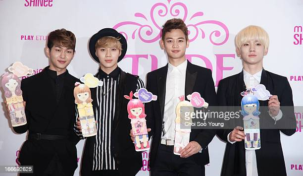 SHINee attend the Etude House 'Minime Be My Princess' Event on April 15 2013 in Seoul South Korea