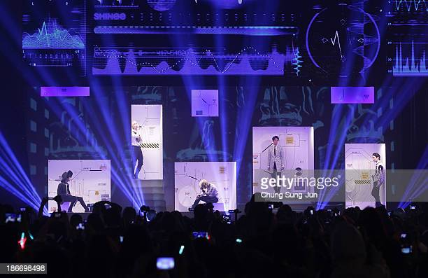 SHINee perform on stage during Youtube Music Awards 2013 at Kintex Hall on November 3, 2013 in Seoul, South Korea.