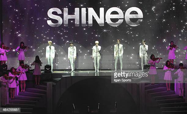 SHINee perform onstage during the 28th Golden Disk Awards at Kyunghee Grand Peace Palace on January 16 2014 in Seoul South Korea