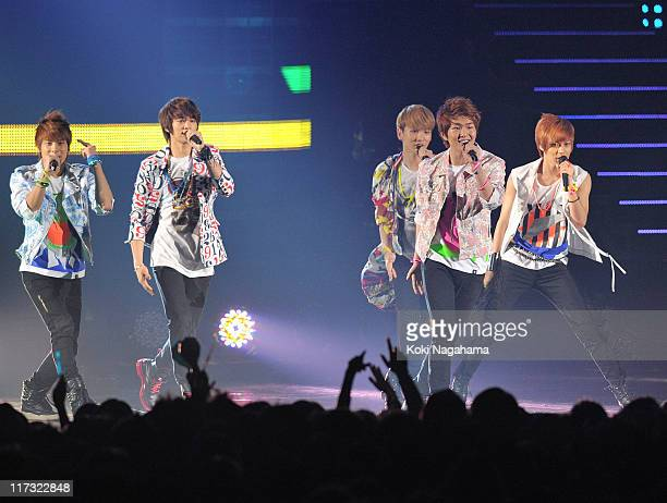 SHINee performs during the MTV Video Music Aid Japan at Makuhari Messe on June 25, 2011 in Chiba, Japan.
