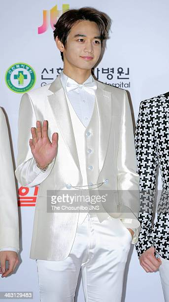 SHINee pose for photographs during the 28th Golden Disk Awards at Kyunghee Grand Peace Palace on January 16 2014 in Seoul South Korea