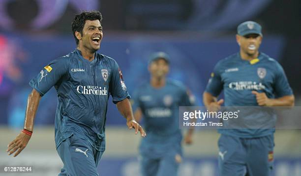 Shing of Deccan Chargers celebrates thw wicket of Justin Langer of Somerset during the Airtel Champions League Twenty20 Group A match between the...