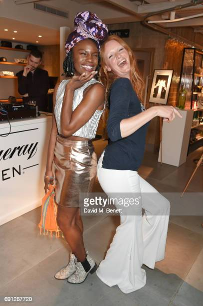 Shingai Shoniwa and Olivia Inge attend the Perfect Ten Exhibition in association with Tanqueray No TEN at Harvey Nichols on June 1 2017 in London...