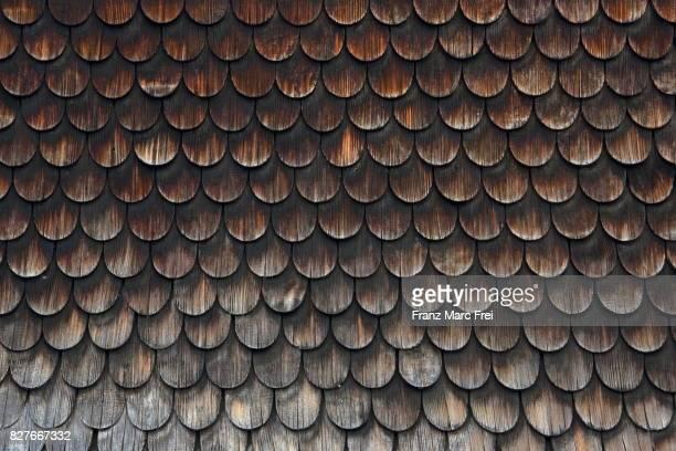 Shingle facade, Bad Hindelang. Oberallgaeu, Bavaria, Germany