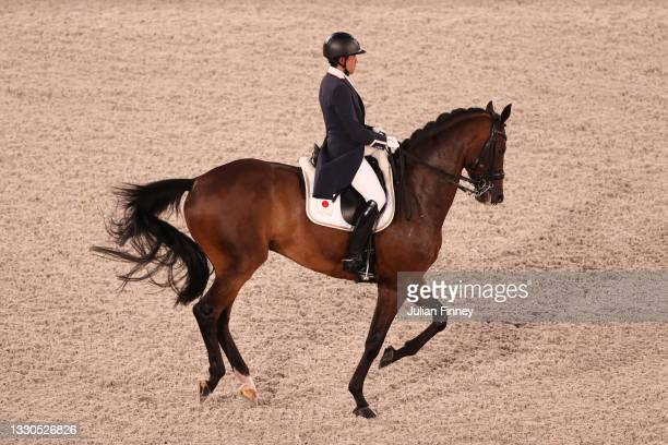 Shingo Hayashi of Team Japan riding Scolari 4 competes in the Dressage Individual Grand Prix Qualifier on day two of the Tokyo 2020 Olympic Games at...