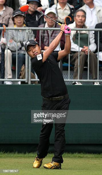 Shingo Katayama hits a shot during the first round of the Bridgestone Open 2012 at Sodegaura Country Club on October 18, 2012 in Chiba, Chiba, Japan.