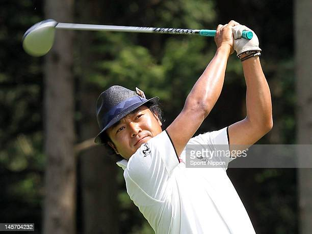 Shingo Katayama hits a tee shot on the 17th hole during the second round of the Japan Golf Tour Championship Citibank Cup Shishido Hills 2012 at...