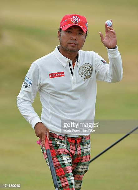 Shingo Katayama of Japan acknowledges the crowd during the final round of the 142nd Open Championship at Muirfield on July 21 2013 in Gullane Scotland