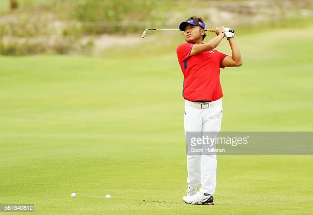 Shingo Katayama of Japan hits a shot during a practice round during Day 3 of the Rio 2016 Olympic Games at Olympic Golf Course on August 8, 2016 in...