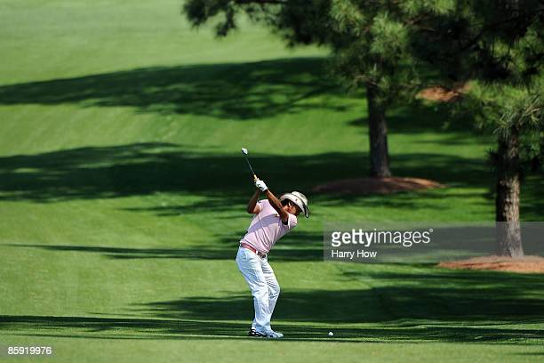 Shingo Katayama of Japan hits a shot on the seventh hole during the final round of the 2009 Masters Tournament at Augusta National Golf Club on April...
