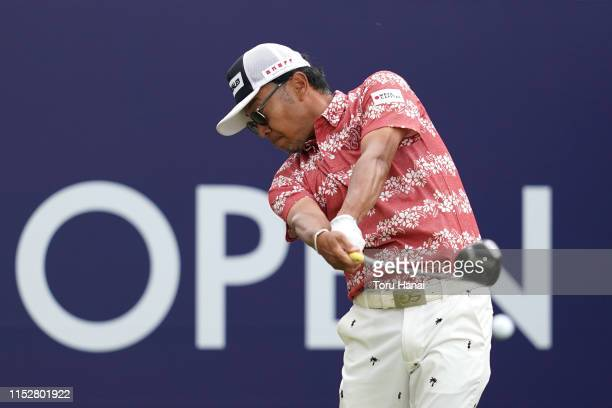 Shingo Katayama of Japan hits a tee shot on the 10th hole during the second round of the Mizuno Open at the Royal Country Club on May 31, 2019 in...