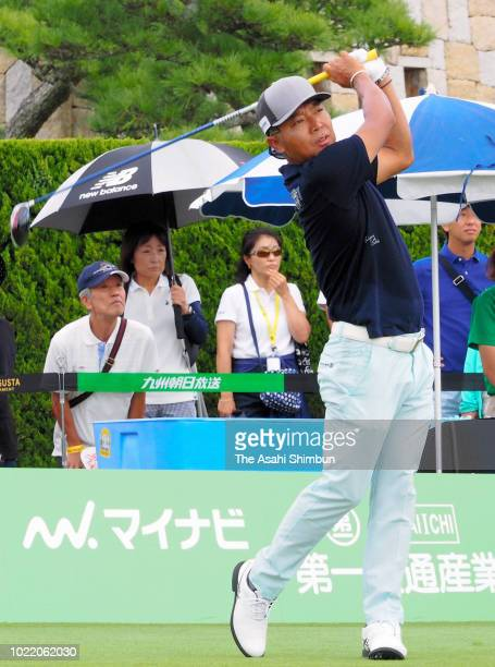Shingo Katayama of Japan hits a tee shot on the 1st tee during the first round of the RIZAP KBC Augusta at Keya Golf Club on August 23, 2018 in...