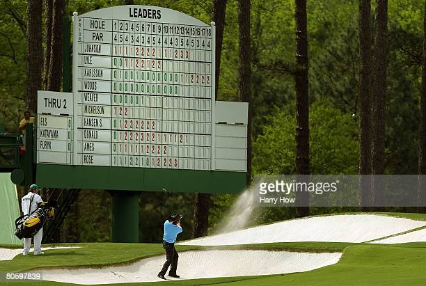 Shingo Katayama of Japan hits from a bunker on the third hole during the first round of the 2008 Masters Tournament at Augusta National Golf Club on...