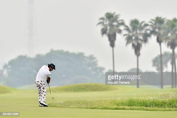 Shingo Katayama of Japan hits his second shot on the 2nd hole during the 3rd round of the Mizuno Open at JFE Setonaikai Golf Club on May 28, 2016 in...