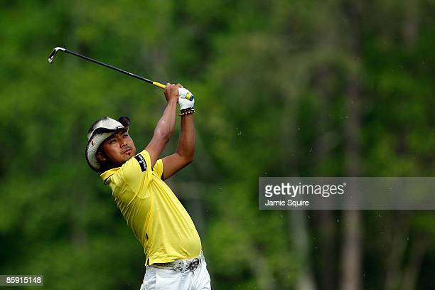 Shingo Katayama of Japan hits his tee shot on the 12th hole during the third round of the 2009 Masters Tournament at Augusta National Golf Club on...