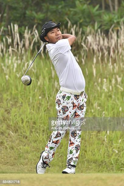 Shingo Katayama of Japan hits his tee shot on the 2nd hole during the 3rd round of the Mizuno Open at JFE Setonaikai Golf Club on May 28, 2016 in...