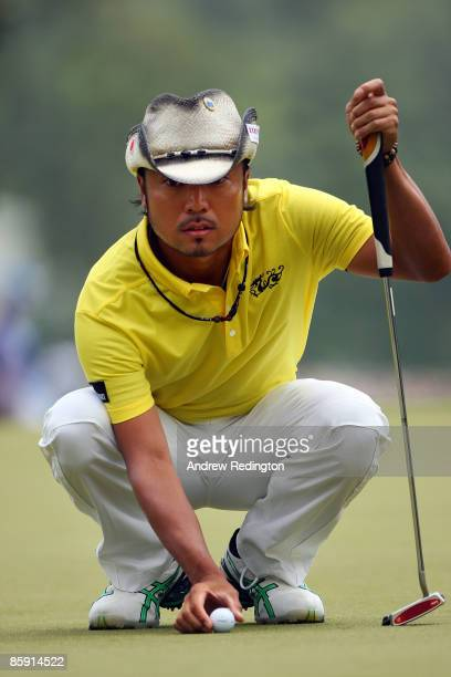 Shingo Katayama of Japan lines up a putt on the first hole during the third round of the 2009 Masters Tournament at Augusta National Golf Club on...