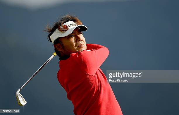 Shingo Katayama of Japan on the 4th tee during the first round of men's golf on Day 6 of the Rio 2016 Olympics at the Olympic Golf Course on August...