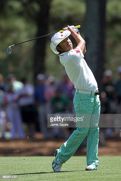 Shingo Katayama of Japan plays a shot on the 14th hole during the second round of the 2010 Masters Tournament at Augusta National Golf Club on April...