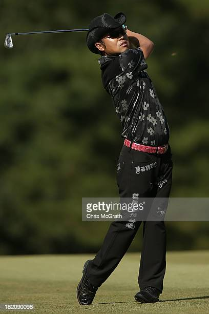 Shingo Katayama of Japan plays his second shot on the 15th hole during day three of the Panasonic Japan Open at Ibaraki Golf Club on September 28...