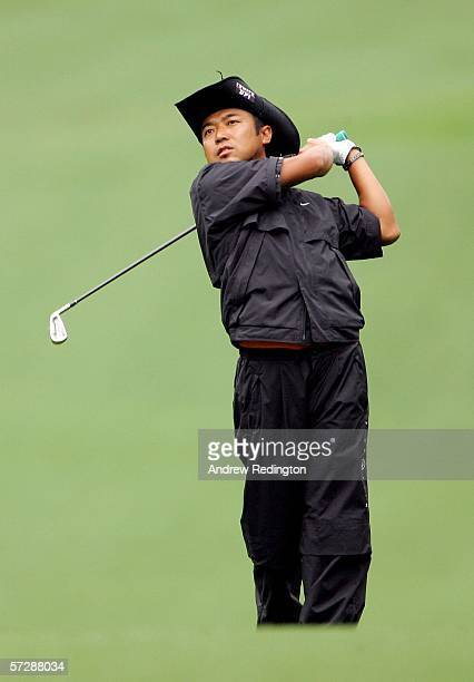 Shingo Katayama of Japan plays his second shot on the first hole during the third round of The Masters at the Augusta National Golf Club on April 8...