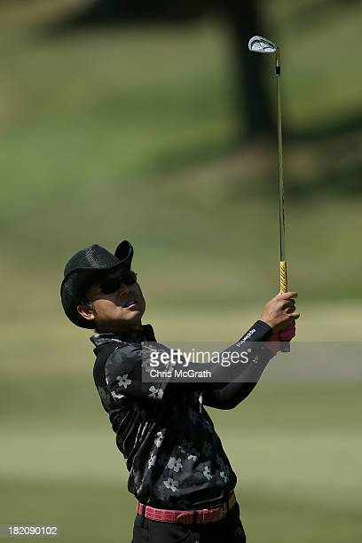 Shingo Katayama of Japan plays his second shot on the sixth hole during day three of the Panasonic Japan Open at Ibaraki Golf Club on September 28...