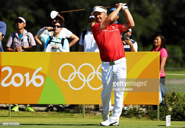 Shingo Katayama of Japan plays his shot from the 13th tee during the final round of men's golf on Day 9 of the Rio 2016 Olympic Games at the Olympic...